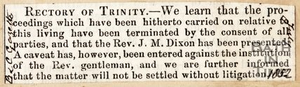Newspaper article Rectory of Trinity 1852
