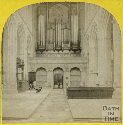 Interior and organ of Bath Abbey, Bath c.1865
