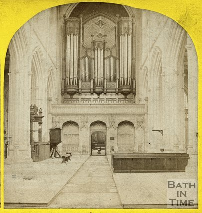 Organ inside Bath Abbey, Bath c.1865