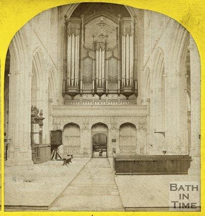 Organ, inside Bath Abbey, c.1865
