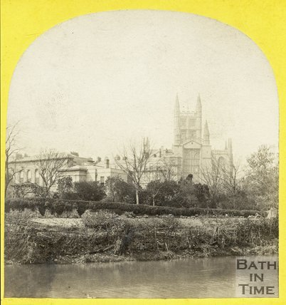 Bath Abbey and Royal Literary and Scientific Institute viewed from across the River Avon, Bath c.1865