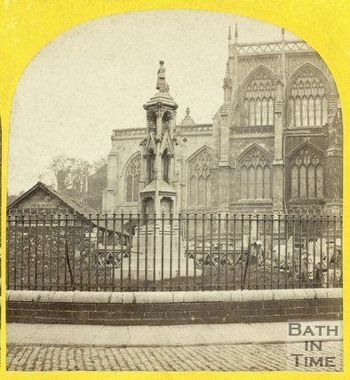 Monument outside St. Mary Redcliffe, Bristol c.1865
