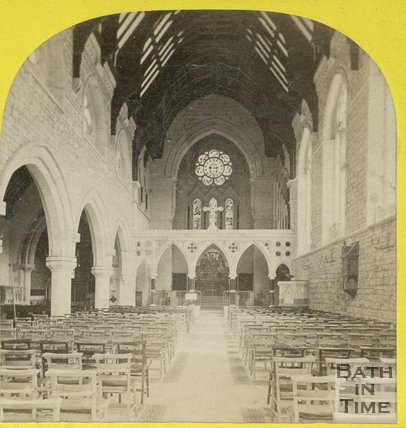 Inside church of St John the Baptist, Bathwick, Bath, c.1868