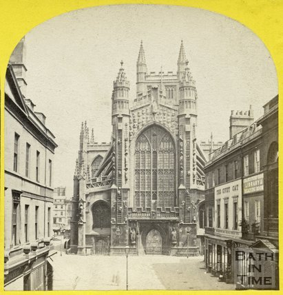 The west front of Bath Abbey from Abbey Church Yard, c.1868