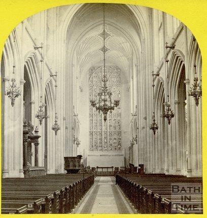 Inside Bath Abbey, c.1868