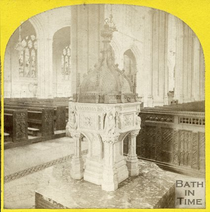 The font, Bath Abbey, Bath c.1868