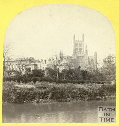Bath Abbey and Royal Literary and Scientific Institute viewed from across the River Avon, Bath, August 1863