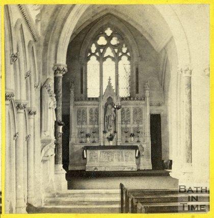 Inside the church of St Mary the Evangelist, Bath, c.1865