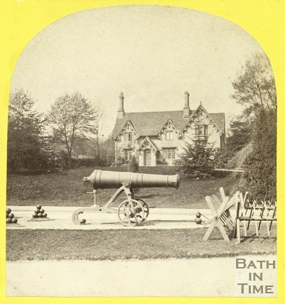 Park Dairy and cannons, Royal Victoria Park, Bath 1863