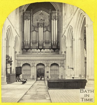 Organ inside Bath Abbey, c.1865
