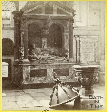 The Font and Lady Waller's Monument, inside Bath Abbey, c.1870