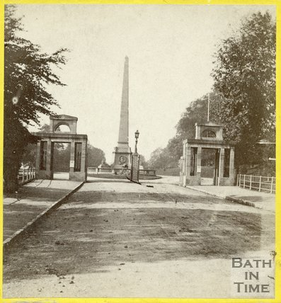 The obelisk, Royal Victoria Park and Russian cannons, Bath c.1870
