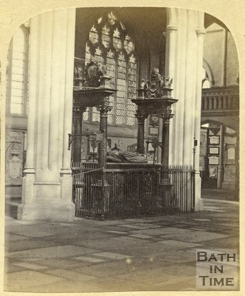 North aisle, nave, transept and Bishop Montague's tomb, Bath Abbey, c.1870
