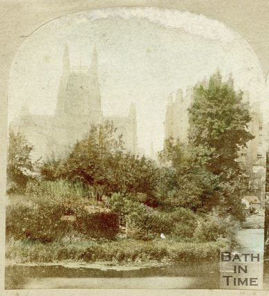 View of Bath Abbey from across the River Avon, c.1865