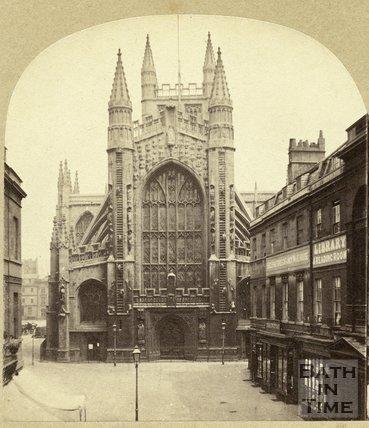 The west front of Bath Abbey from Abbey Church Yard, Bath c.1870
