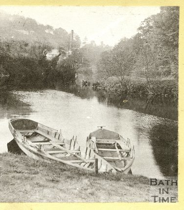Boats on the river at Limpley Stoke, near Bath, c.1870