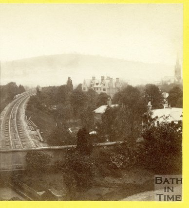 View along the Great Western Railway towards Bath from Bathwick Terrace, Bath 1874