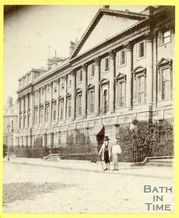 A gentleman posing outside the north side of Queen Square, Bath 1863