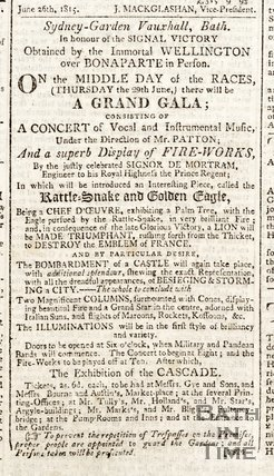 Advertisement for a grand Gala in Sydney Gardens, Bath June 1815