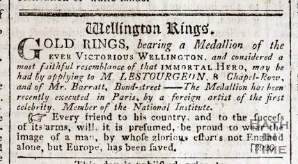 Advertisement for Wellington's Rings, Bath, 1815