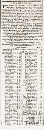 Advertisement for subscribers for Pleasure Baths, Bath, 1815
