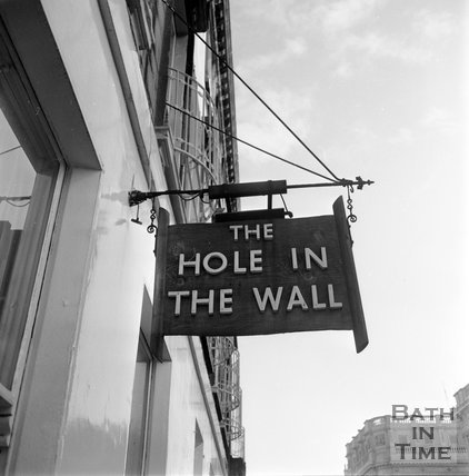 The Hole in the Wall sign, George Street, Bath, 6 October 1971