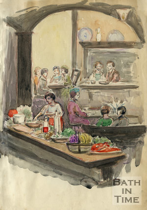 A contemporary watercolour of the inside of the Hole in the Wall restaurant, George Street, Bath, c.1960