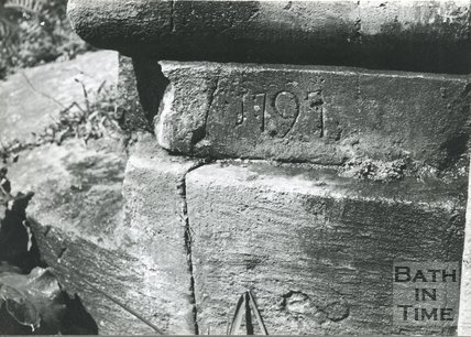 Mason's mark and flood level of 1797 on stone possibly on the Somersetshire Coal Canal, c.1960