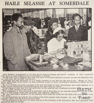 Haile Selassie and his wife visiting Frys factory, Somerdale, Keynsham, December 1938