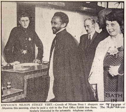 Haile Selassie visits Post Office Exhibition in Milsom Street, Bath, August 1936