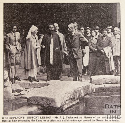 Haile Selassie at the Roman Baths, Bath, August 1936