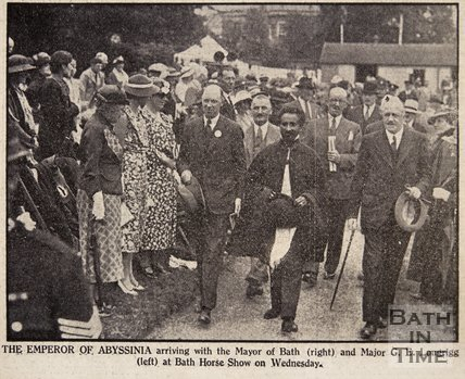 Haile Selassie arriving at the Bath Horse Show, September 1936