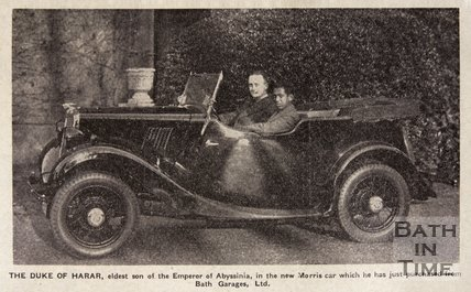 The Duke of Harar, second son of Haile Selassie with a new Morris 8 car, purchased from Bath Garages Ltd, January 1937