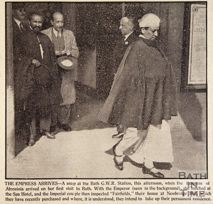 The Empress of Abyssinia and Haile Selassie arrive at Bath Spa station, October 1936