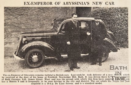 Haile Selassie's new car, a Morris from Bath Garages Ltd, March 1940