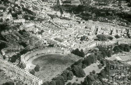 Aerial view of Royal Crescent, Circus, Bath, c.1950