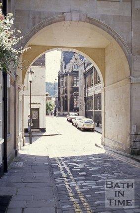 Trim Street viewed from Queen Street, Bath, c.1970s