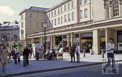 Stall Street as it is crossed by Westgate Street, Bath, 1980s
