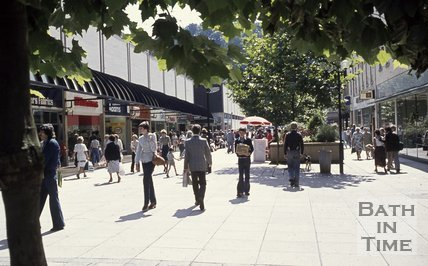 Southgate Street showing the shopping precinct, Bath, c.1975