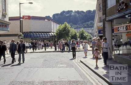 Southgate Street showing the shopping precinct viewed from Stall Street, Bath, c.1975