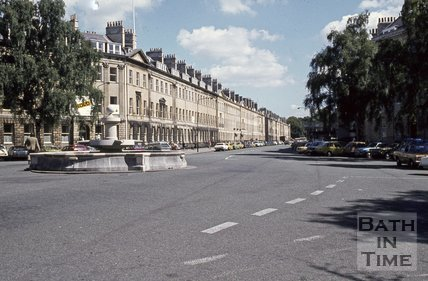 Laura Place looking up Great Pulteney Street, Bath, c.1980s