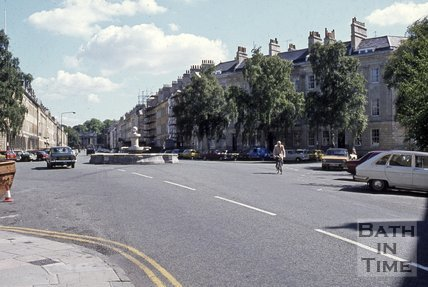 Laura Place looking up Great Pulteney Street, Bath, 1978