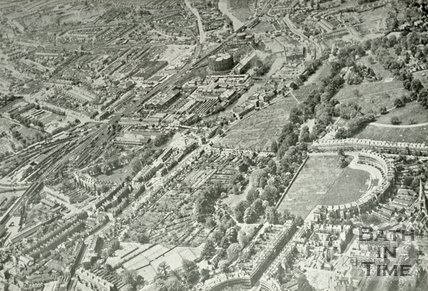 Aerial view of Bath looking over the Royal Crescent towards the west, c.1942