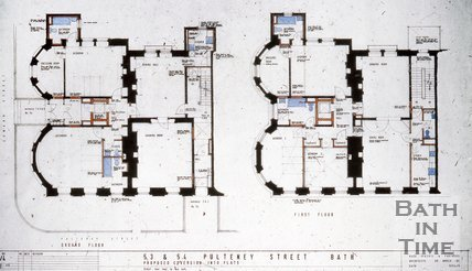 Architect's drawings for the conversion of 53 & 54 Pulteney Street into flats, c.1957?