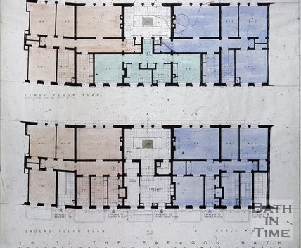 Architect's drawing for the restoration of 28-32 The Paragon, Bath, c.1957