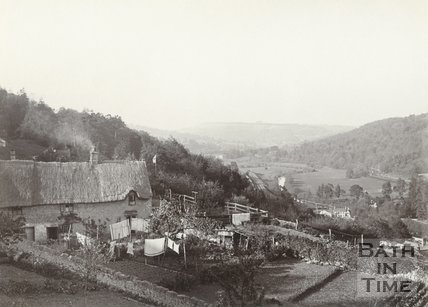 Hideaway Cottage and 3 Middle Stoke from the Warminster Road above Limpley Stoke c.1901