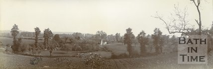 View of an unidentified farm and barn, possibly in the Limpley Stoke area? c.1901