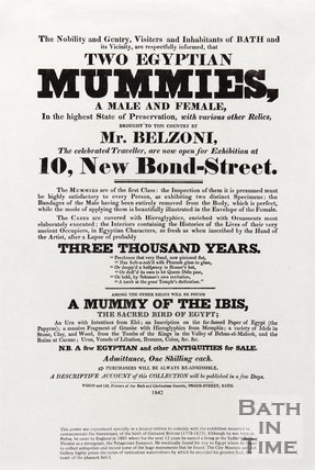 Poster for Two Egyptian Mummies, and other Relics, at 10 New Bond Street, Bath, 1842