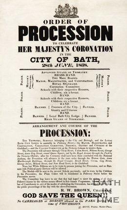 Order of Procession to celebrate Queen Victoria's Coronation, Bath, 1838