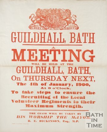 Poster Advertising a Meeting at the Guildhall, Bath, on Recruitment for the Local Volunteer Regiment, 1900